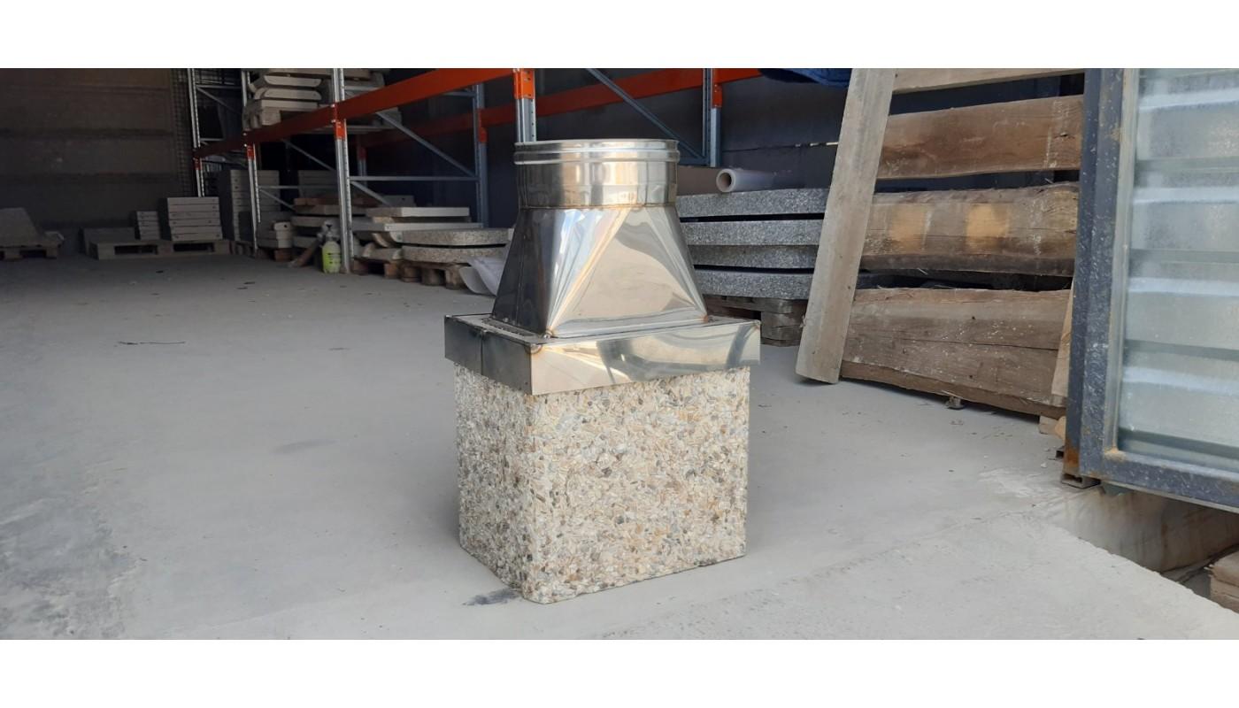 Переходник с бетонной трубы на металлическую.
