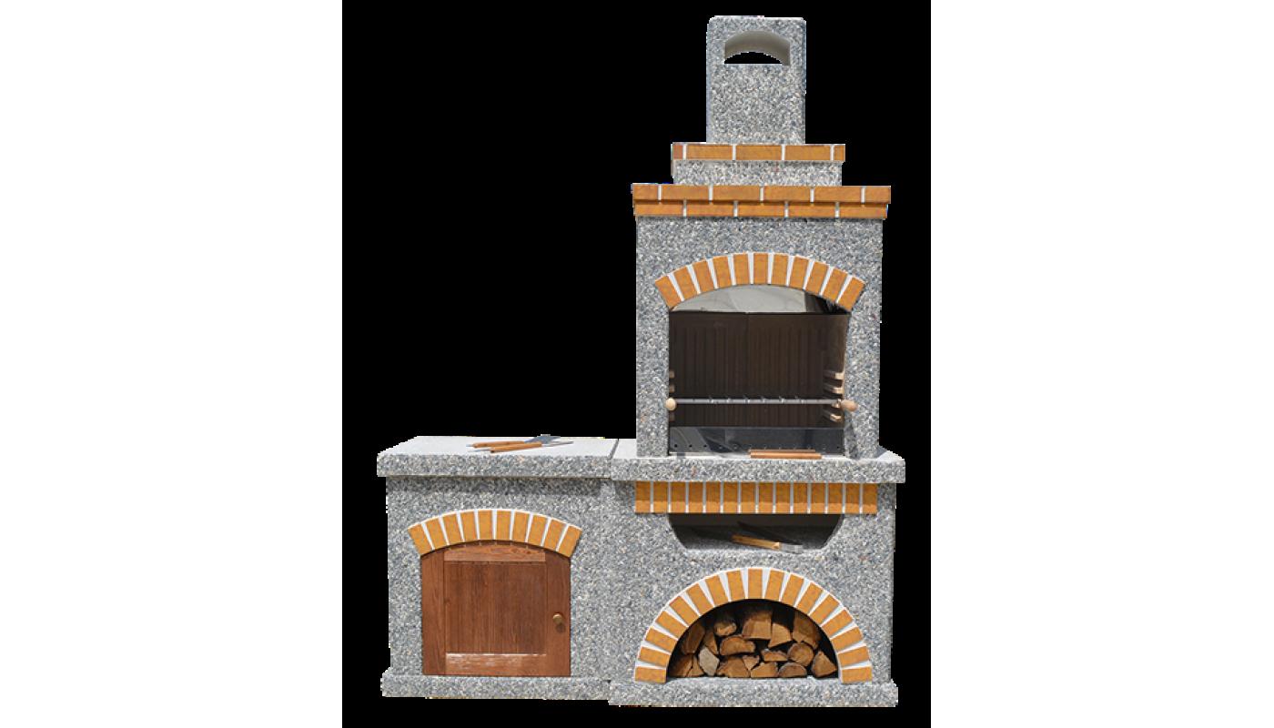 Камин-Барбекю  «ТИТАН  Комфорт» с фасадными дверцами