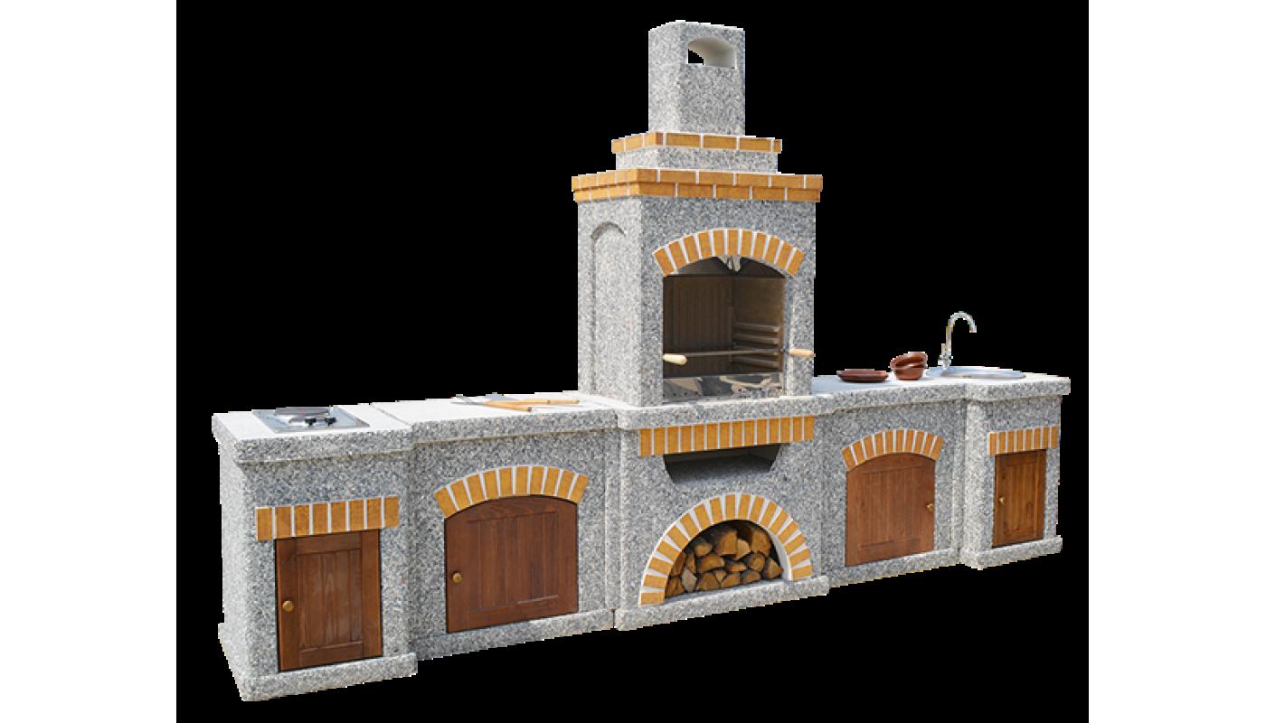 Камин-Барбекю  «ТИТАН Империал» с фасадными дверцами