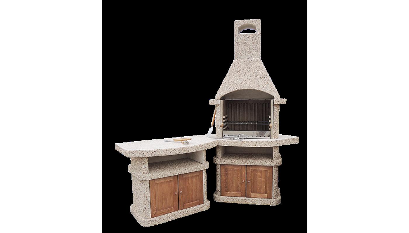 Камин-Барбекю  «АФИНА Комфорт» с фасадными дверцами